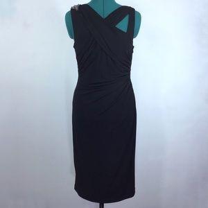 David Meister Black Beaded  Midi Cocktail Dress